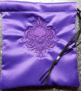 Purple damask skull bag